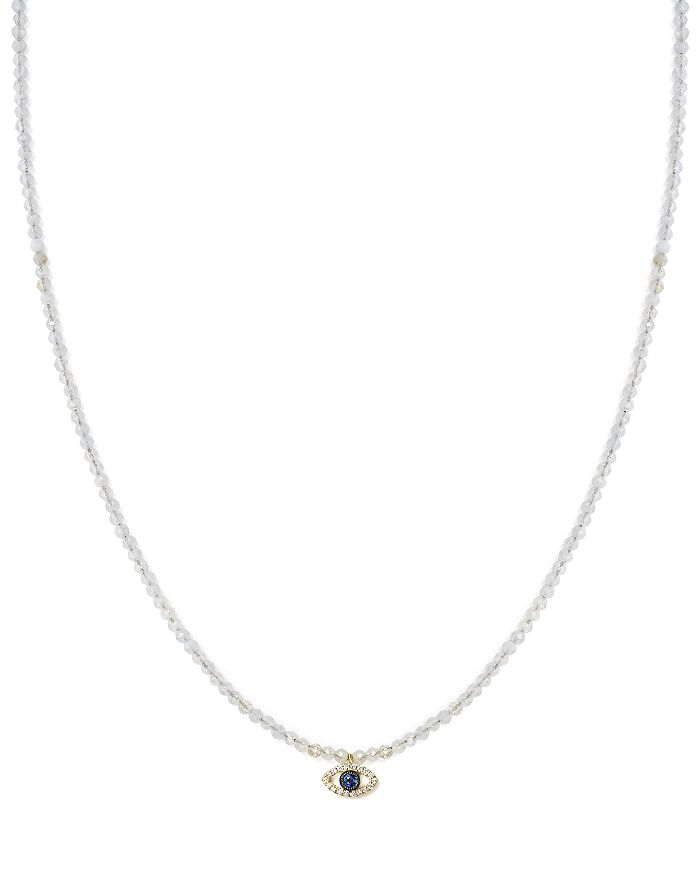 """Meira T - 14K Yellow Gold Sapphire, Diamond and Chalcedony Beaded Evil Eye Choker Necklace, 12"""""""