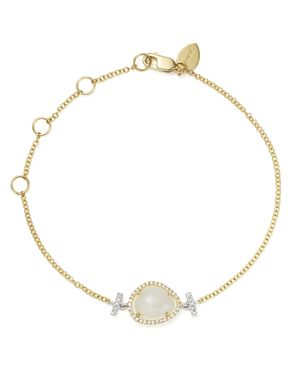 Meira T 14K White and Yellow Gold Rainbow Moonstone and Diamond Bracelet