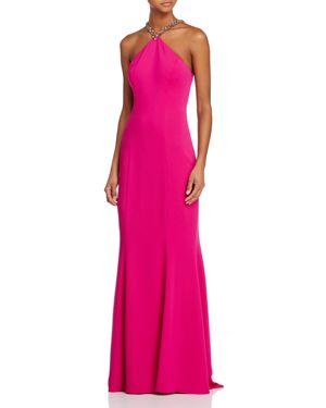 Carmen Marc Valvo Infusion Embellished Halter Gown
