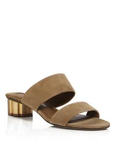 Salvatore Ferragamo - Women's Suede Low Heel Slide Sandals