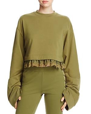 Fenty Puma x Rihanna Lace-Trimmed Crop Sweatshirt