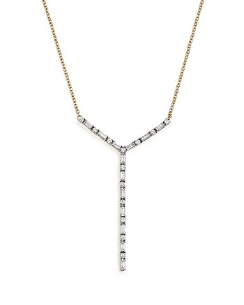 Bloomingdale's - Diamond Round and Baguette Y Pendant Necklace in 14K Yellow Gold, 1.0 ct. t.w. - 100% Exclusive