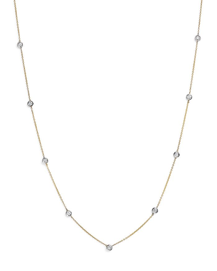 Bloomingdale's - Diamond Station Necklace in 14K Yellow and White Gold, 0.60 ct. t.w. - 100% Exclusive