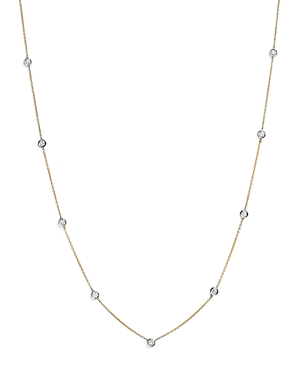 Diamond Station Necklace in 14K Yellow and White Gold, .60 ct. t.w. - 100% Exclusive