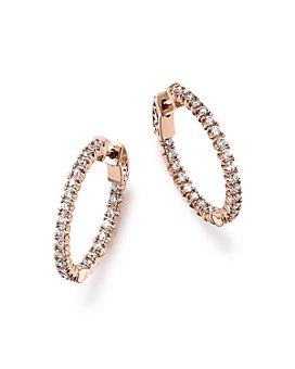 Bloomingdale's - Diamond Inside Out Hoop Earrings in 14K Rose Gold, 1.0 ct. t.w. - 100% Exclusive