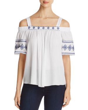Kim & Cami Embroidered Cold Shoulder Top