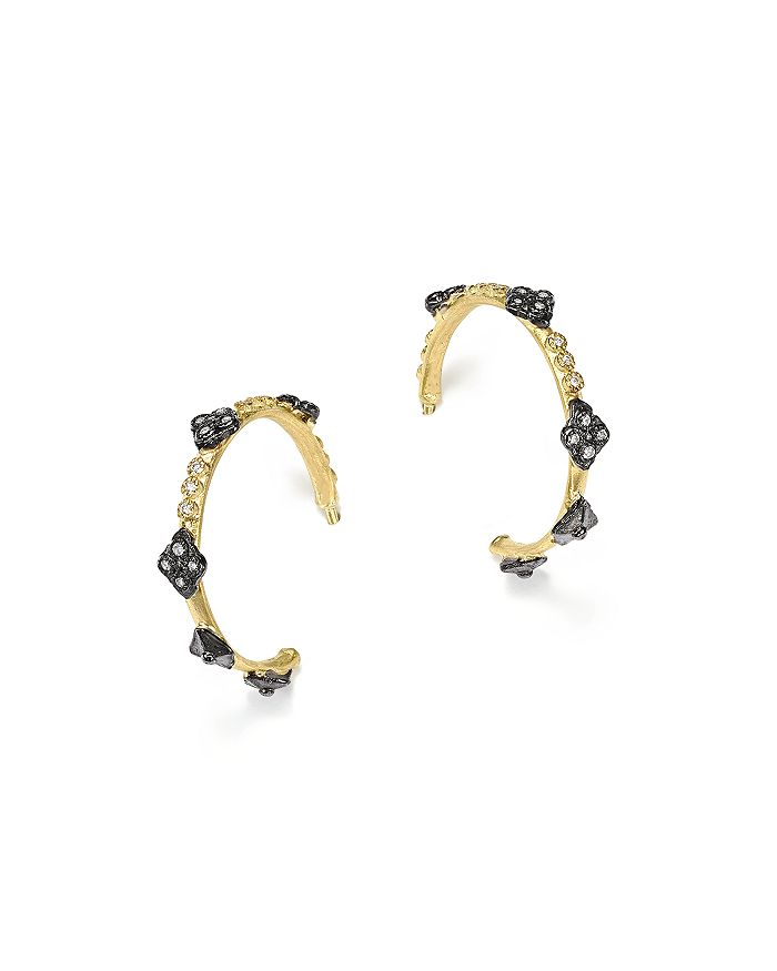 Armenta - Blackened Sterling Silver and 18K Yellow Gold Old World Cravelli Cross Diamond Hoop Earrings