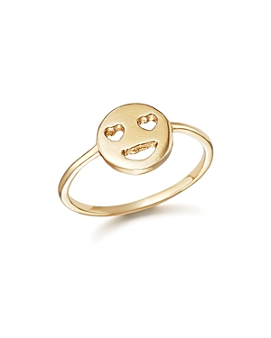 Bing Bang Nyc 14K Yellow Gold Heart Eyes Emoji Ring