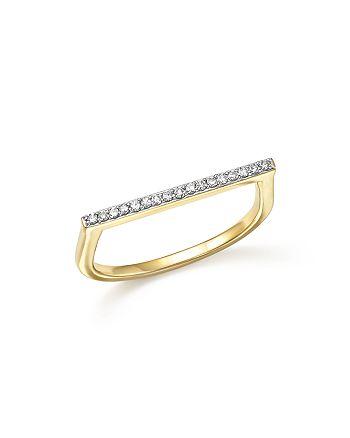 Adina Reyter - 14K Yellow Gold Pavé Diamond Flat Bar Ring