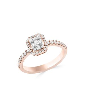 Diamond Cluster Ring in 14K White and Rose Gold, .50 ct. t.w. - 100% Exclusive