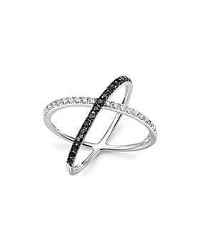 Bloomingdale's - White and Black Diamond Crossover Ring in 14K White Gold - 100% Exclusive