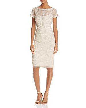 Aidan Mattox Short-Sleeve Beaded Dress