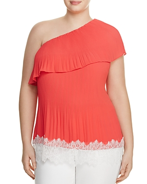 Michael Michael Kors Plus Pleated One Shoulder Top - 100% Exclusive