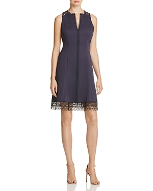 Elie Tahari Loz Lace Trim Dress