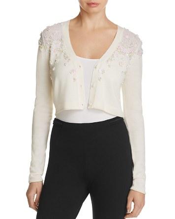 $Elie Tahari Greta Embellished Crop Sweater - Bloomingdale's