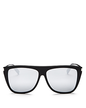 Saint Laurent Men\\\'s Sl 1 Mirrored Flat Top Square Sunglasses, 59mm-Men
