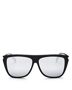Saint Laurent Men\\\'s Sl 1 Mirrored Flat Top Square Sunglasses, 59mm-Men