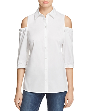 Foxcroft Cold Shoulder Button Down Shirt