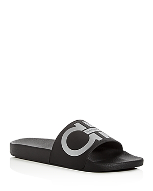 Salvatore Ferragamo Men's Groove Slide Sandals
