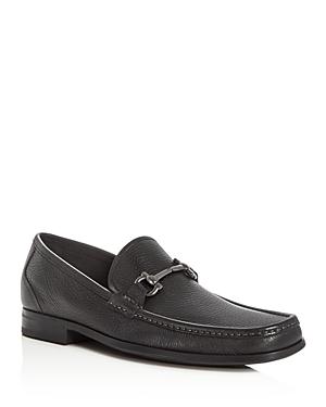 Salvatore Ferragamo Textured Leather Double Gancini Bit Loafers