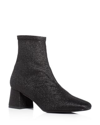 GIA STRETCH GLITTER MID HEEL BOOTIES