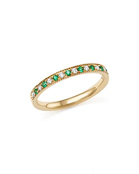 Bloomingdale's - Emerald and Diamond Beaded Band in 14K Yellow Gold - 100% Exclusive