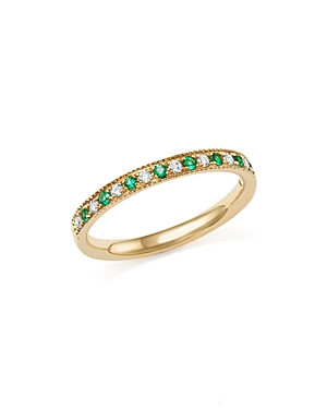 Emerald and Diamond Beaded Band in 14K Yellow Gold - 100% Exclusive