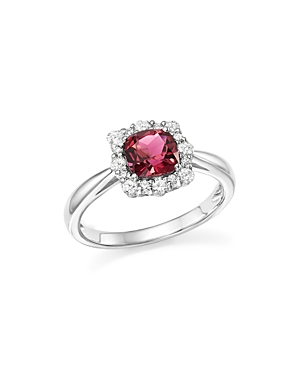 Cushion-Cut Pink Tourmaline and Diamond Ring in 14K White Gold