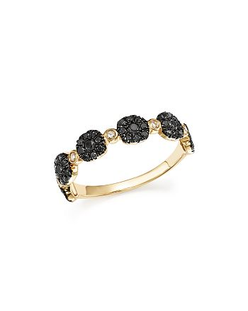 Bloomingdale's - Black and White Diamond Micro Pavé Stacking Band in 14K Yellow Gold - 100% Exclusive