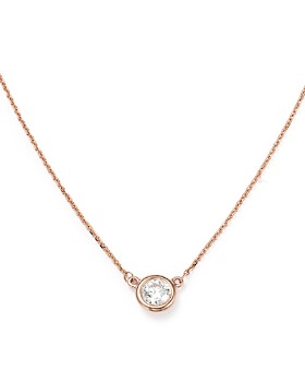 Bloomingdale's - Diamond Bezel Set Pendant Necklace in 14K Rose Gold, .40 ct. t.w. - 100% Exclusive