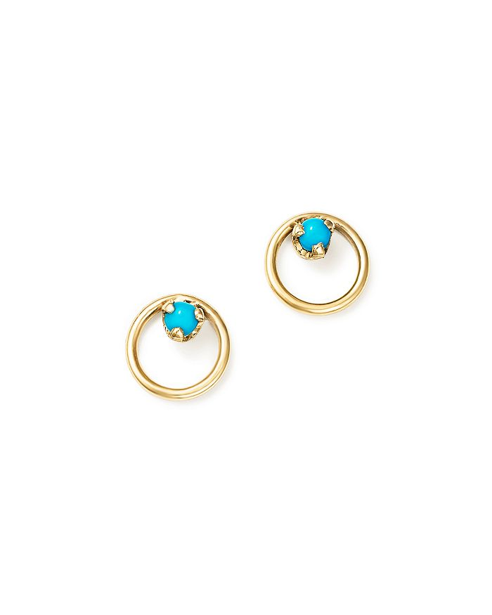 ZoË Chicco 14k Yellow Gold Turquoise Circle Stud Earrings In Blue/gold