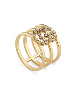 Gucci - 18K Yellow Gold Running G Triple Band Diamond Ring