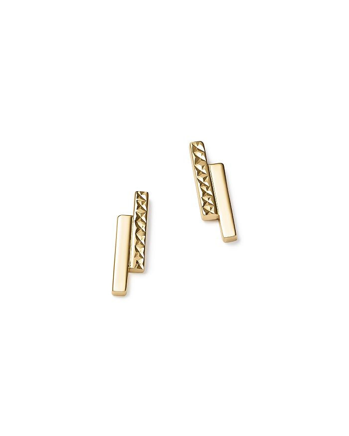 Bloomingdale's - 14K Yellow Gold Textured Double Bar Stud Earrings - 100% Exclusive