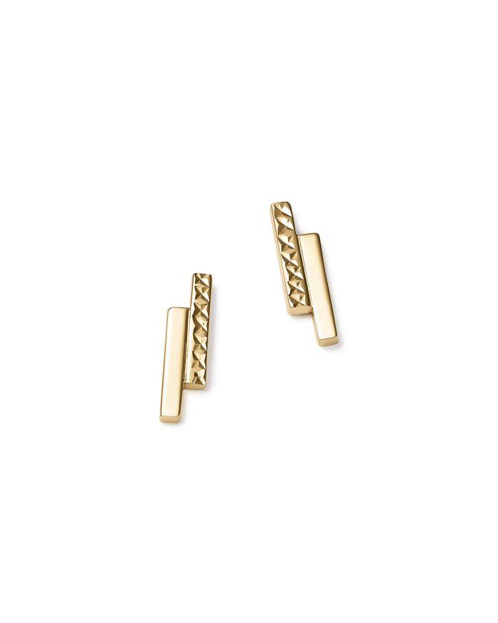 Bloomingdale's 14K Yellow Gold Textured Double Bar Stud Earrings  - 100% Exclusive    Bloomingdale's