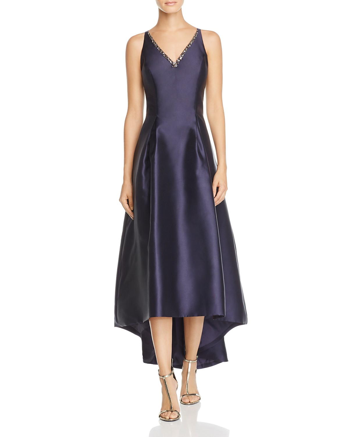 Carmen Marc Valvo Infusion Mikado V-Neck High/Low Gown | Bloomingdale\'s