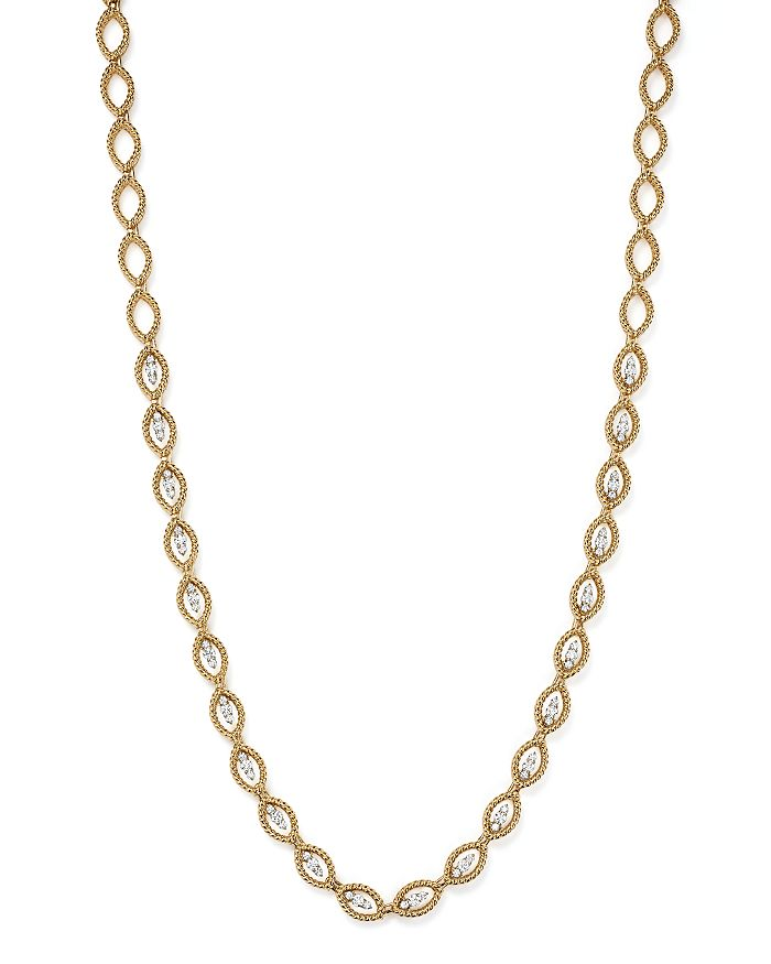 """Roberto Coin - 18K White and Yellow Gold New Barocco Diamond Necklace, 16"""""""