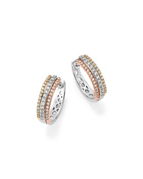 Bloomingdale S Diamond Triple Row Hoop Earring In 14k Gold 50 Ct