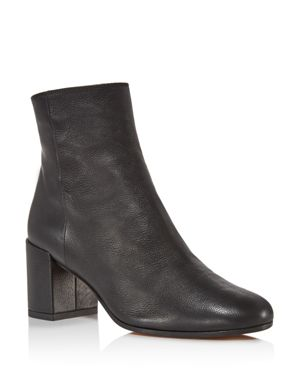 Vince Blakely Leather Block Heel Booties 2613819