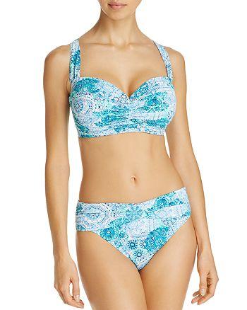 Bleu Rod Beattie - Shirred Bandeau D Cup Bikini Top & Sarong Hipster Bikini Bottom