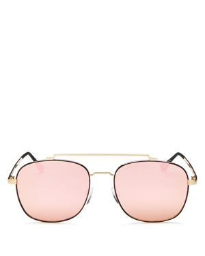 Quay To Be Seen Mirrored Brow Bar Aviator Sunglasses, 57mm