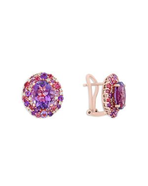 Amethyst, Pink Tourmaline and Diamond Earrings in 14K Rose Gold- 100% Exclusive