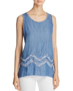 Billy T Lace Inset Chambray Tank