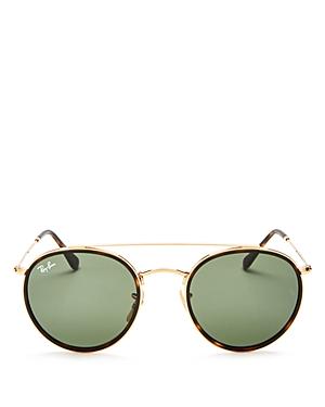 Ray-Ban Icons Retro Brow Bar Round Sunglasses, 50mm