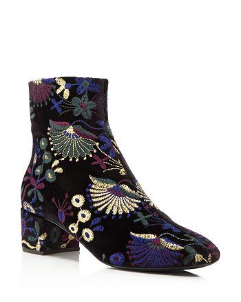 Giuseppe Zanotti - Women's Embroidered Velvet Block Heel Booties - 100% Exclusive