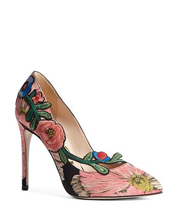 Gucci - Women's Ophelia Embroidered High-Heel Pumps