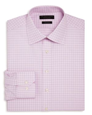 The Men's Store at Bloomingdale's Contrast Check Regular Fit Dress Shirt - 100% Exclusive