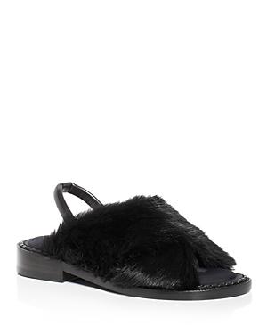 Robert Clergerie Bloss Rabbit Fur Slingback Sandals