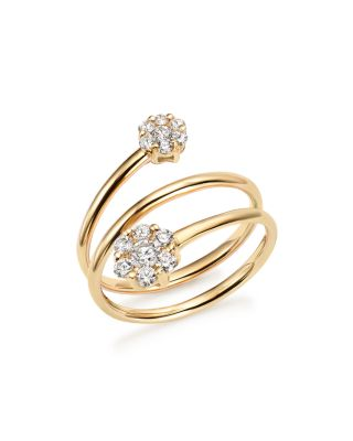 DIAMOND TRIPLE ROW FLOWER RING IN 14K YELLOW GOLD, .45 CT. T.W. - 100% EXCLUSIVE