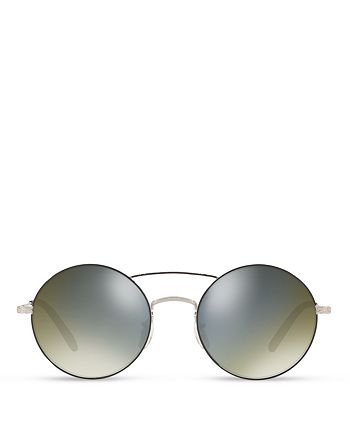 Oliver Peoples - Women's Nickol Mirrored Round Sunglasses, 53mm