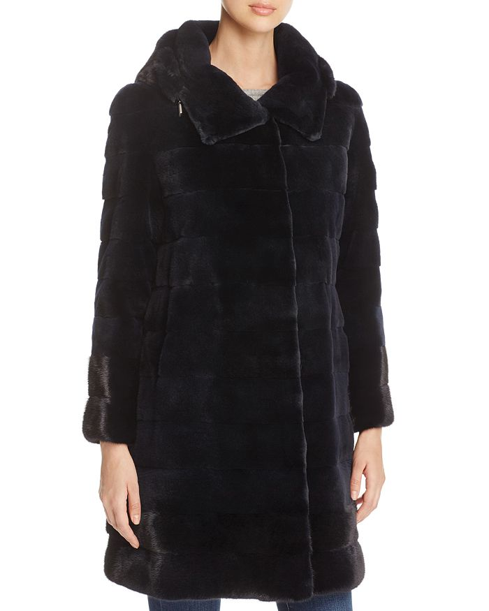 Maximilian Furs - Hooded Kopenhagen Mink Fur Coat - 100% Exclusive